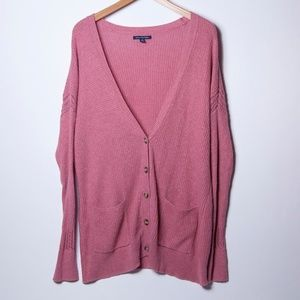 American Eagle Outfitters Pink Knit Cardigan_XL